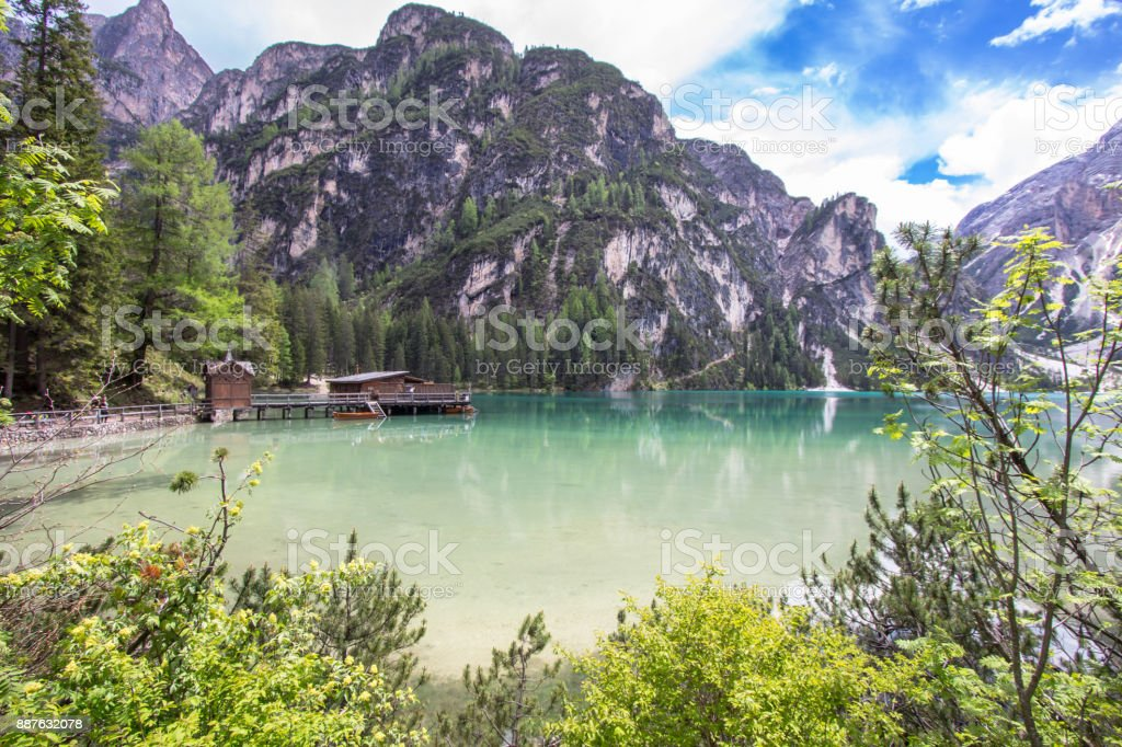 Lake Braies in Dolomites, Italy stock photo