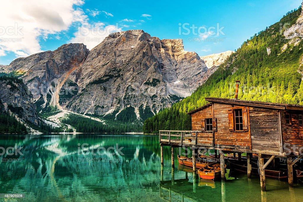 See Lac de Braies in Südtirol im Sommer – Foto