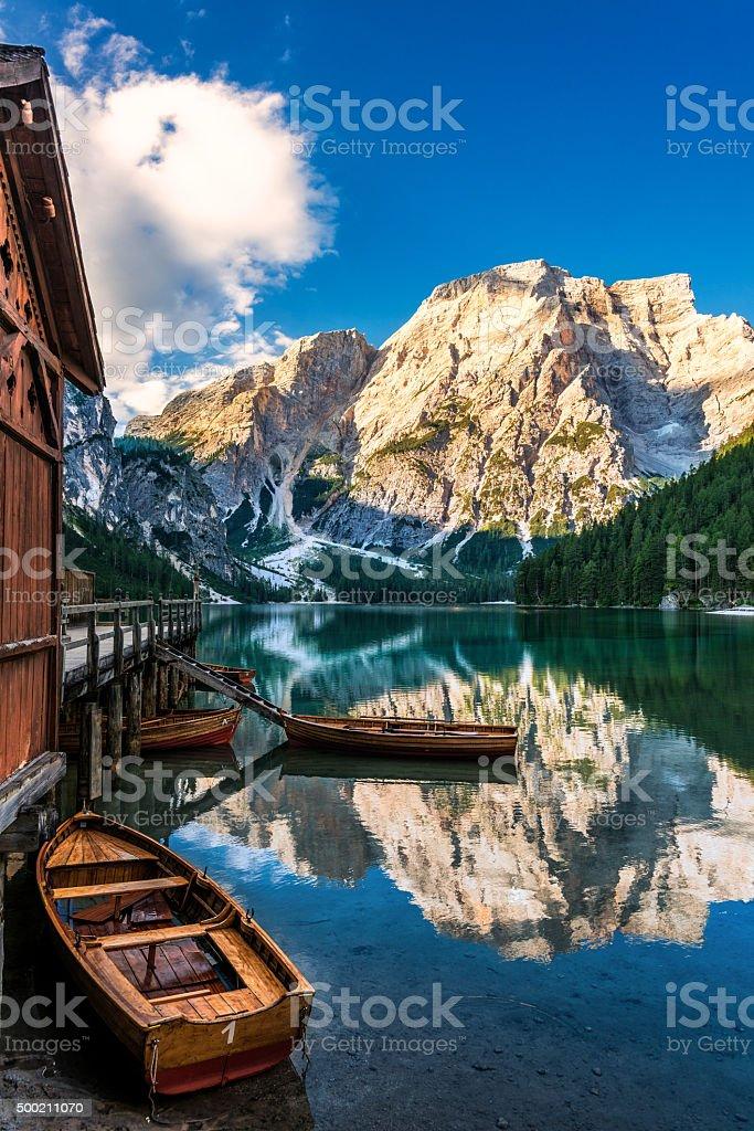 Lake Braies in South Tyrol in Summer stock photo