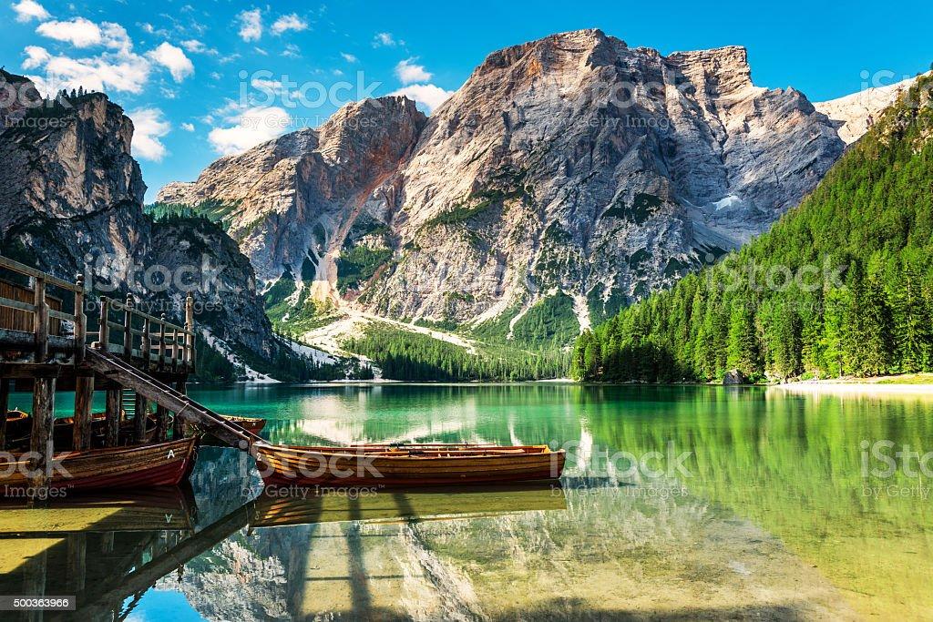 Lake Braies (Pragsersee) in South Tyrol in Summer stock photo