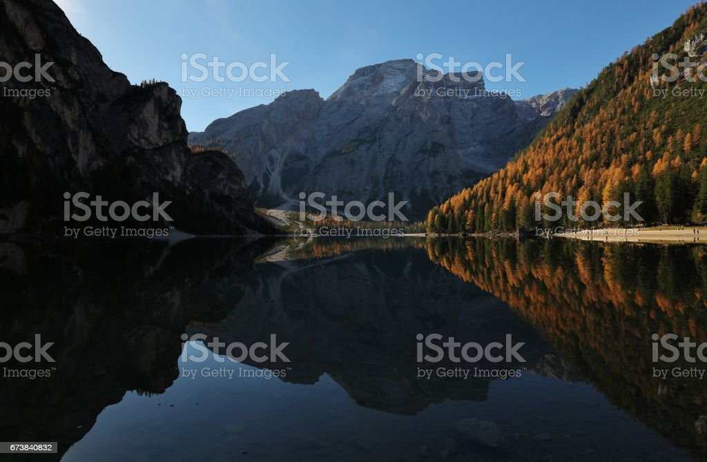 Lake Braies in South Tyrol-Italy royalty-free stock photo