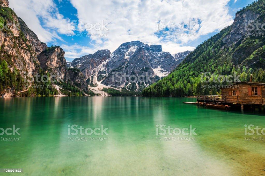 Lake Braies / Pragsersee in South Tirol stock photo