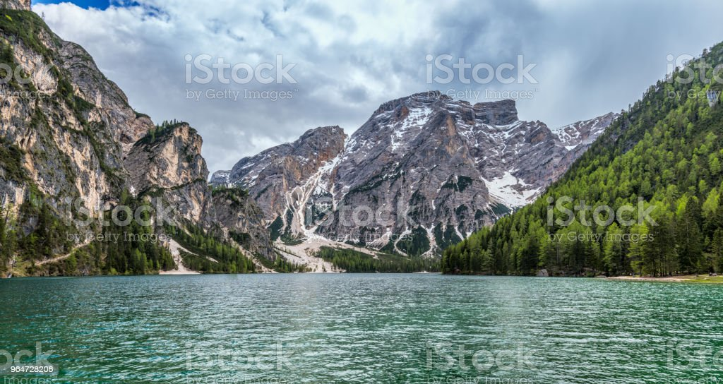 Lake Braies / Pragsersee in South Tirol royalty-free stock photo