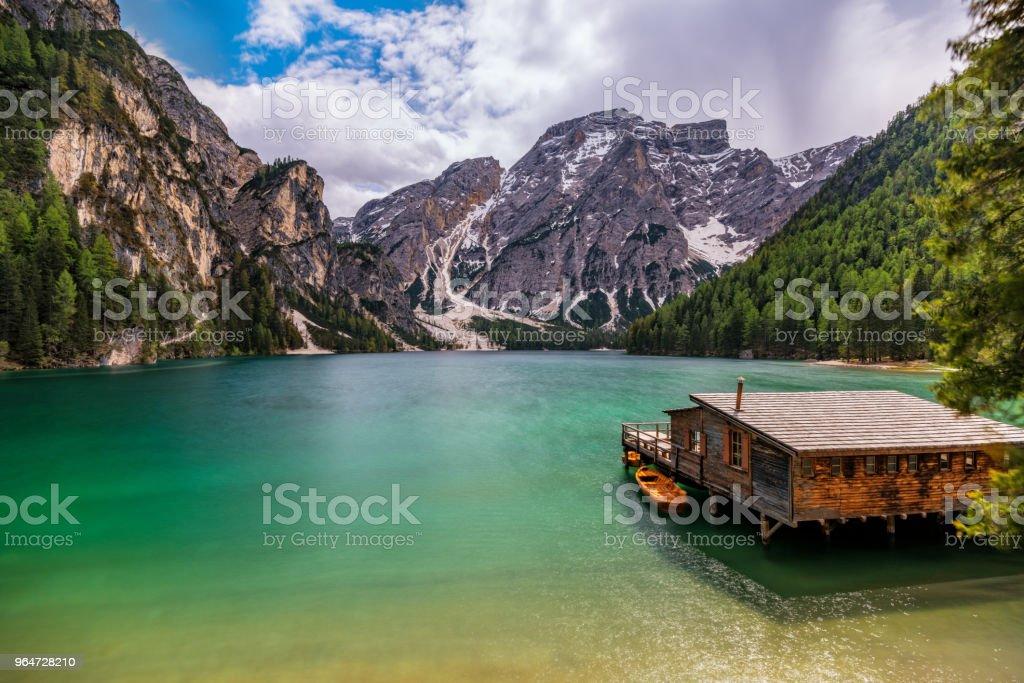 Lake Braies / Pragsersee in South Tirol royalty-free stock photo
