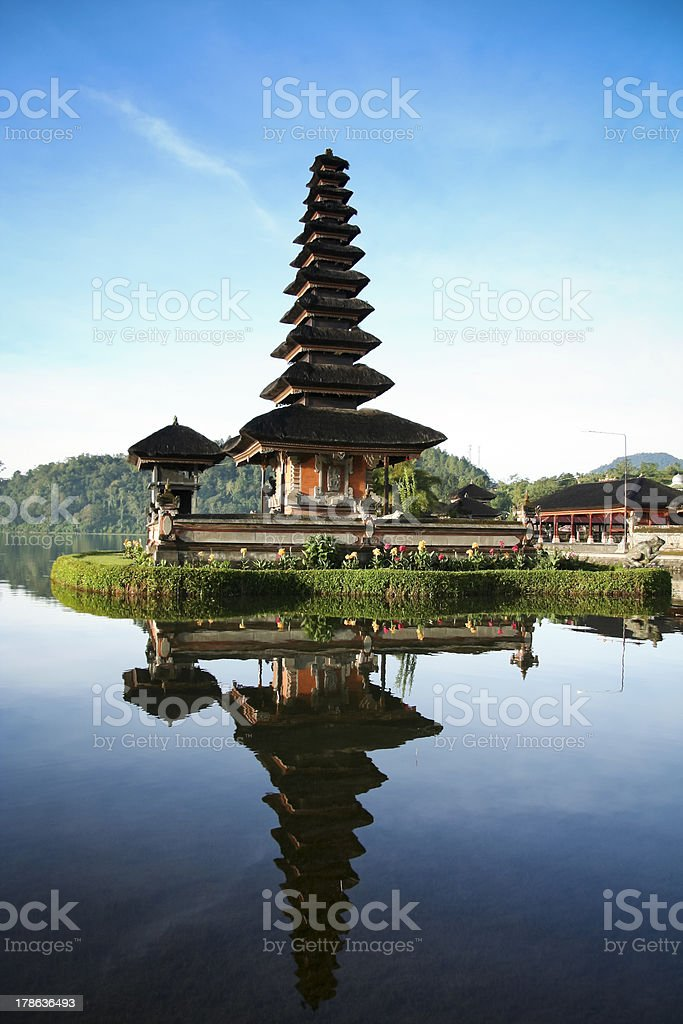 Lake Bratan Temple Bali Blue Dawn Sky stock photo