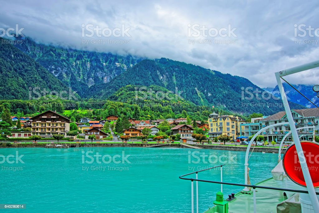 Lake Brienz and Brienzer Rothorn mountain in Bern in Swiss stock photo