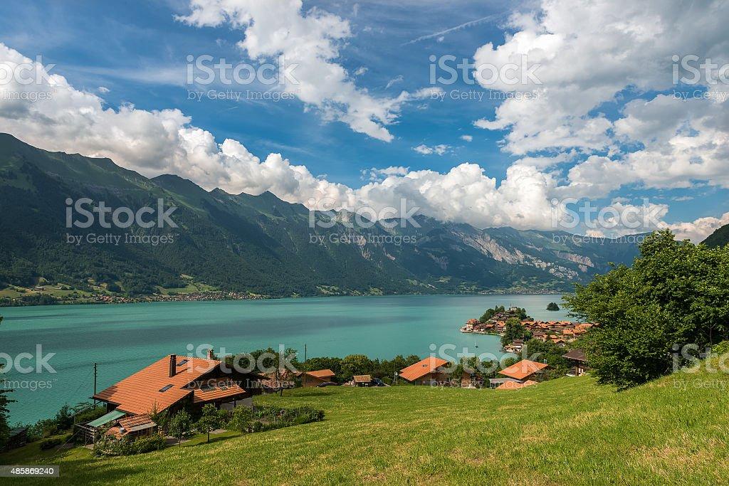 Lake Brienz in Switzerland on mountain background stock photo