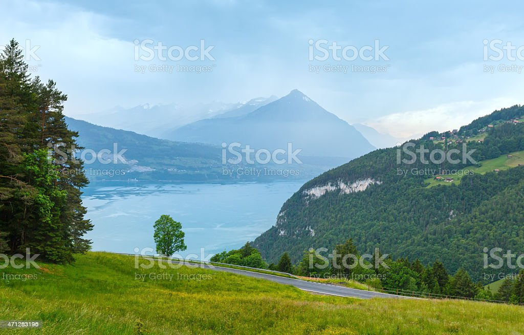 Lake Brienz summer top view (Switzerland). stock photo