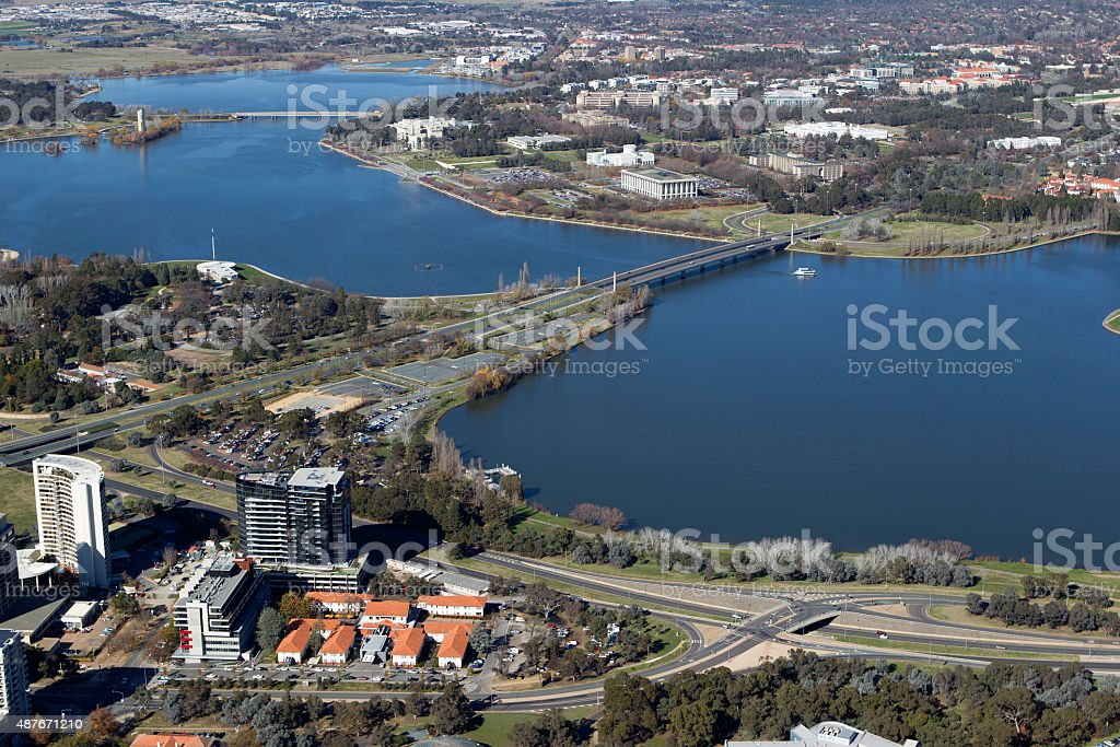 Lake Burley Griffin aerial view stock photo
