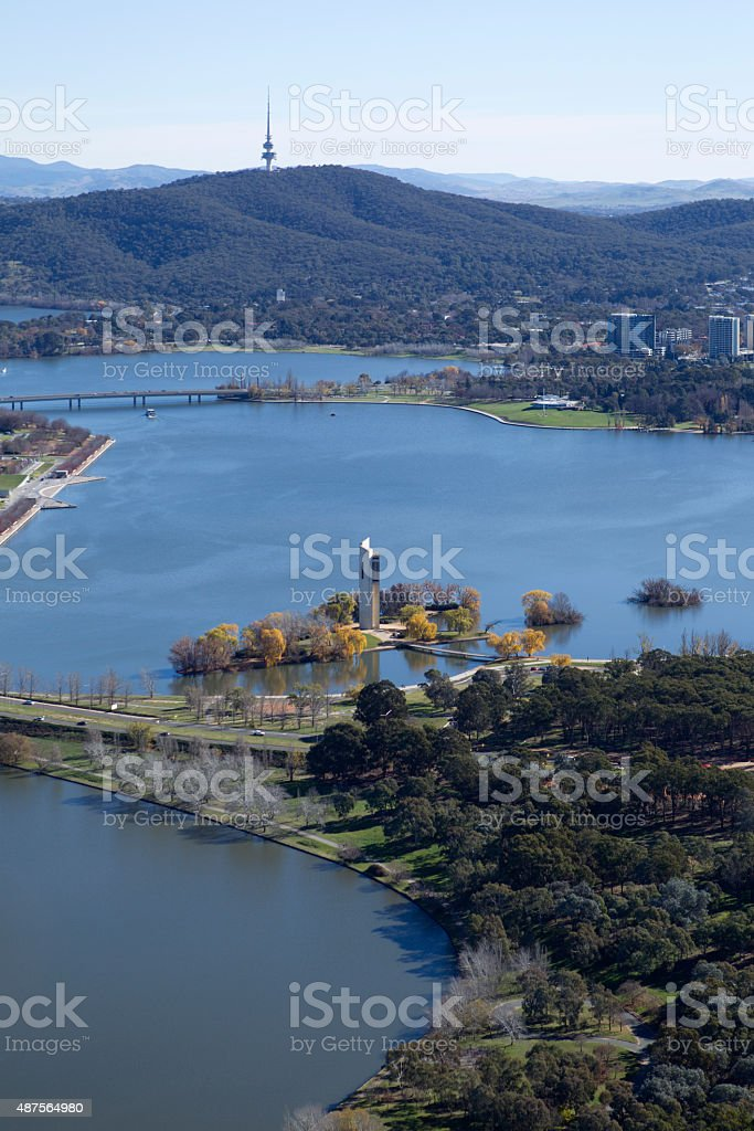 Lake Burley Griffin Canberra aerial stock photo