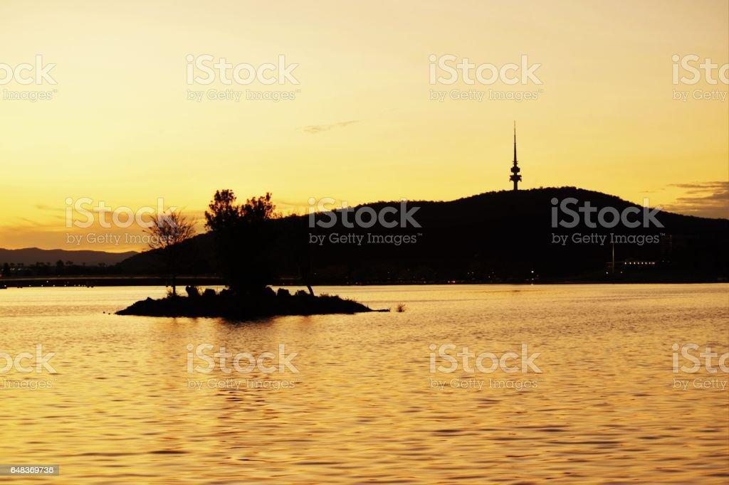 Lake Burley Griffin sunset stock photo