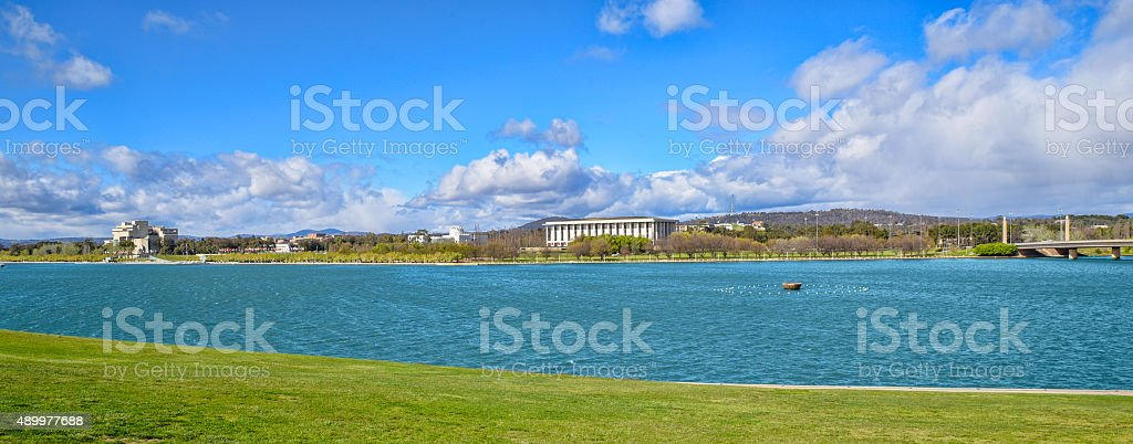 Lake Burley Griffin with Canberra's major attractions stock photo