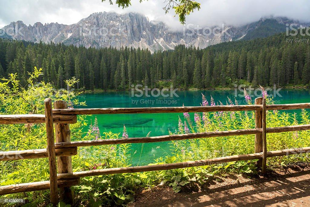 Lake Carezza, Dolomites, Italy stock photo