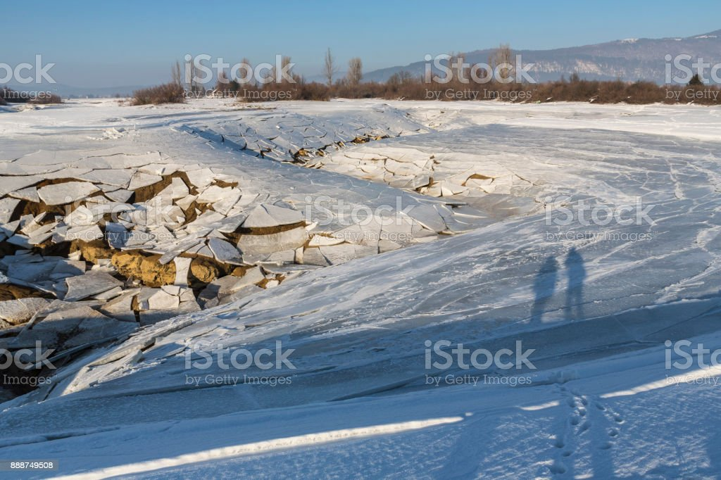 Lake Cerknica cracks stock photo