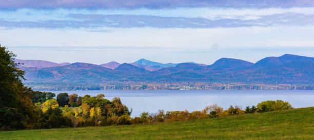 Lake Champlain and the Adirondack Mountains stock photo