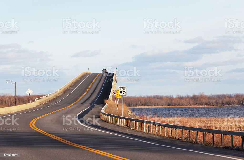 Lake Champlain Bridge at Sunset royalty-free stock photo