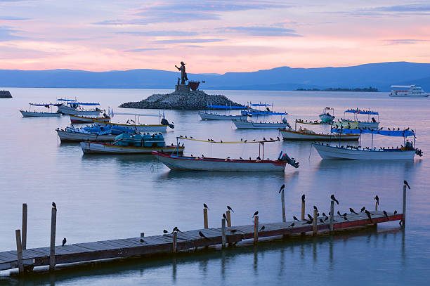 Lake Chapala Islet and Pier stock photo