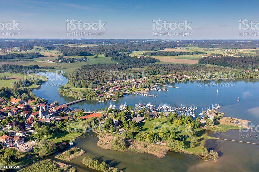 Lake chiemsee and city Seebruck with River Alz stock photo