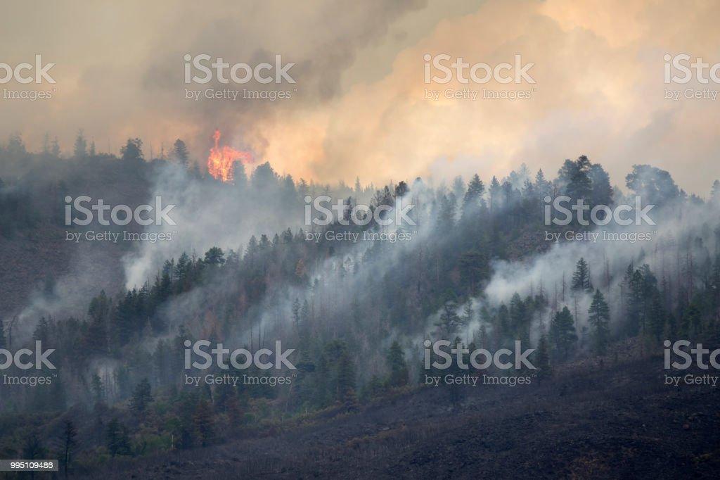 Lake Christine forest fire Basalt Mountain Colorado Rocky Mountain wildfire smoke stock photo