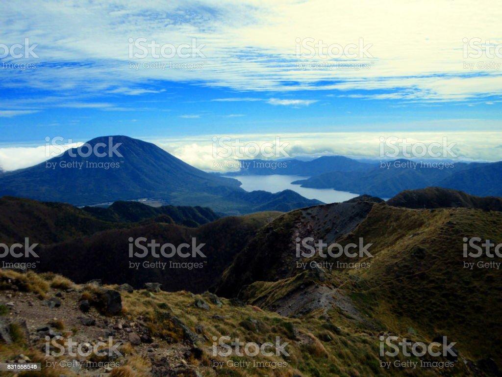 Lake Chuzenji and Mount Nantai which I watched from Mount Nikko-Shirane stock photo