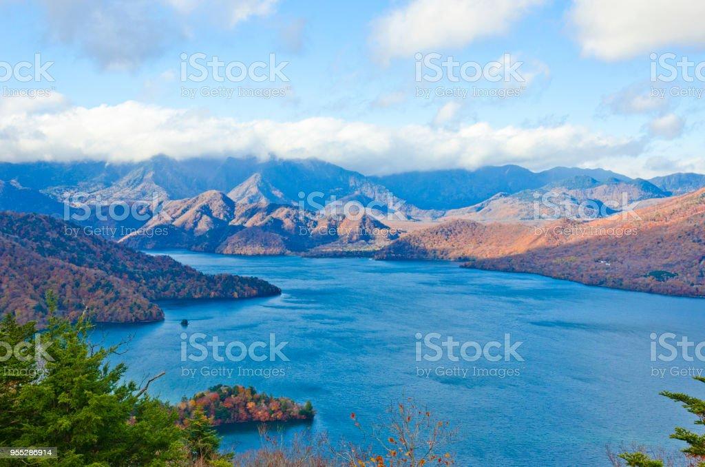 Lake Chuzenji and Mt. Nantai in autumn from above stock photo