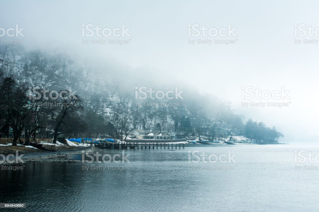 Lake Chuzenji view at Nikko in Japan. Travel and Landscape view in winter season stock photo