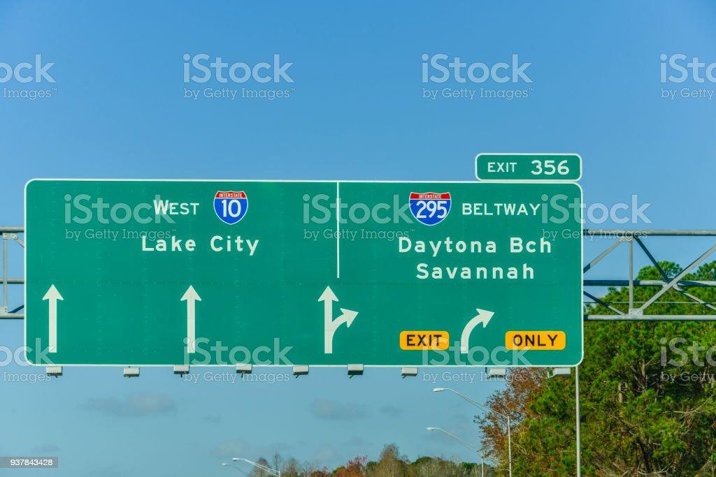 Lake City, Daytona Beach, Savannah Sign stock photo