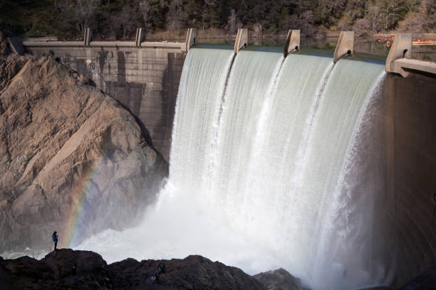 Lake Clementine Dam overflowing into the river below stock photo