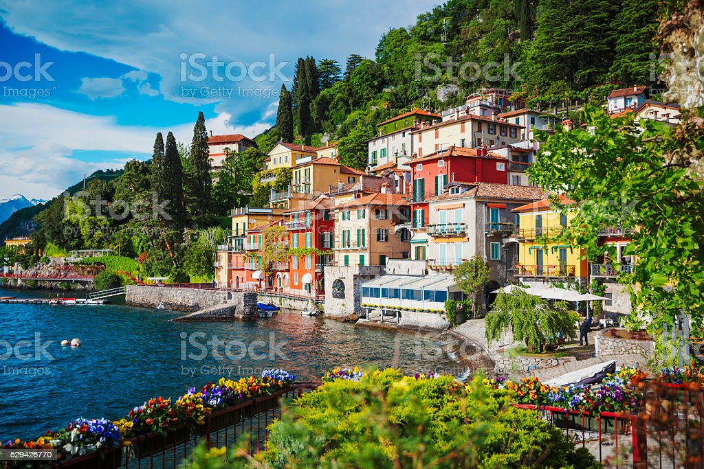 Lake Como, Italy View of Varenna town at lake Como, Italy Architecture Stock Photo
