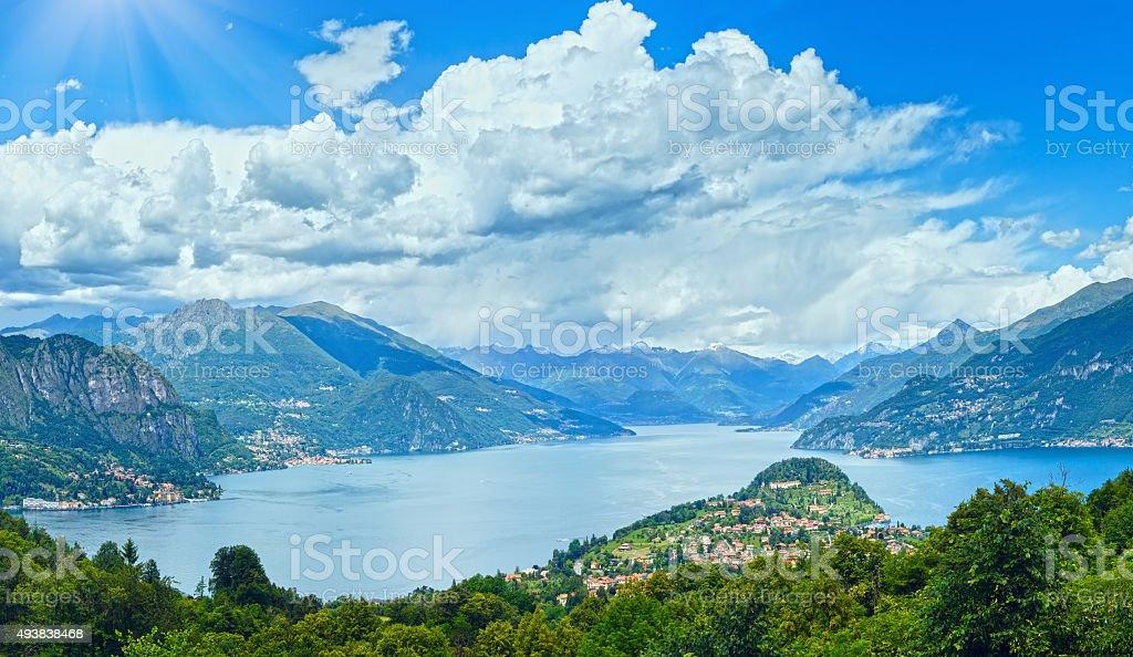 Lake Como summer panorama (Italy) stock photo