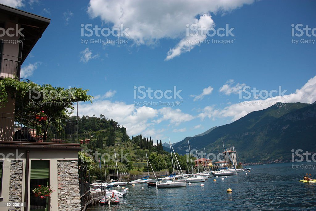 Lake Como under blue sky in Italy stock photo