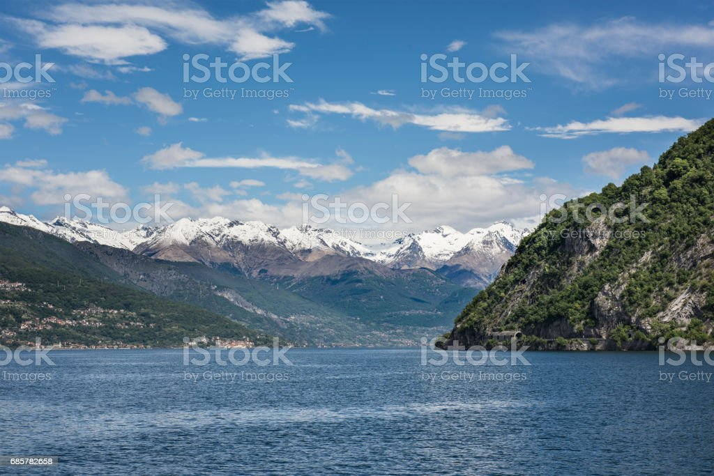 Lake Como View with Snow Covered Mountain Peaks royalty-free stock photo