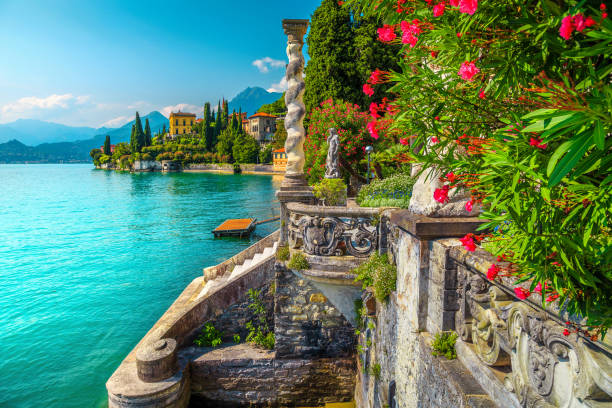 Lake Como with luxury villas and spectacular gardens, Varenna, Italy stock photo