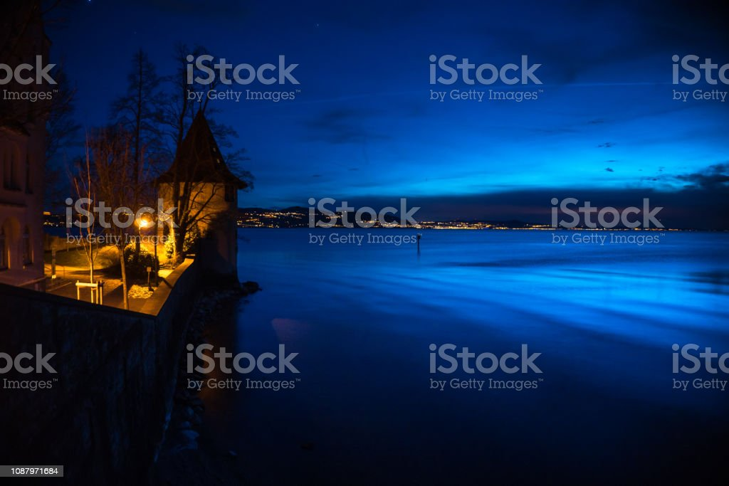 Lake Constance from Lindau at Night stock photo