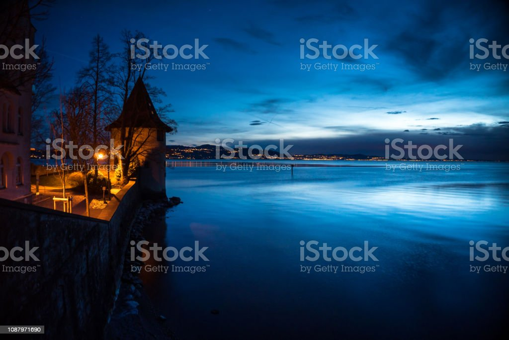Lake Constance from Lindau at Twilight stock photo