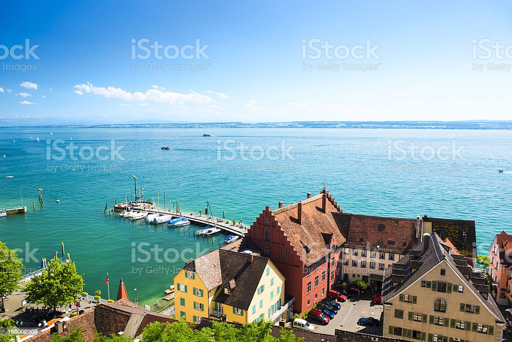 Lake Constance, Germany with Switzerland on a horizon stock photo