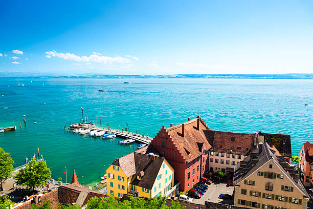 Lake Constance, Germany with Switzerland on a horizon View on Lake Constance (Bodensee) from Meersburg, Germany. Bodensee stock pictures, royalty-free photos & images