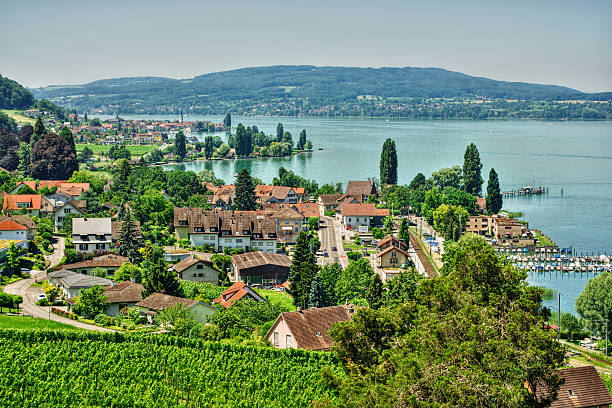 Lake Constance HDR July 2015, the village Mannenbach and the Untersee (Lake Constance), HDR-technique Bodensee stock pictures, royalty-free photos & images