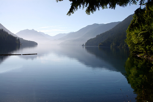 The very smooth waters of  Lake Crescent in Olympic National Park
