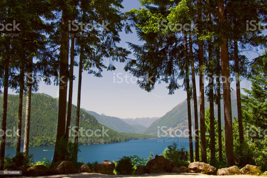 Lake Cushman in Summer stock photo