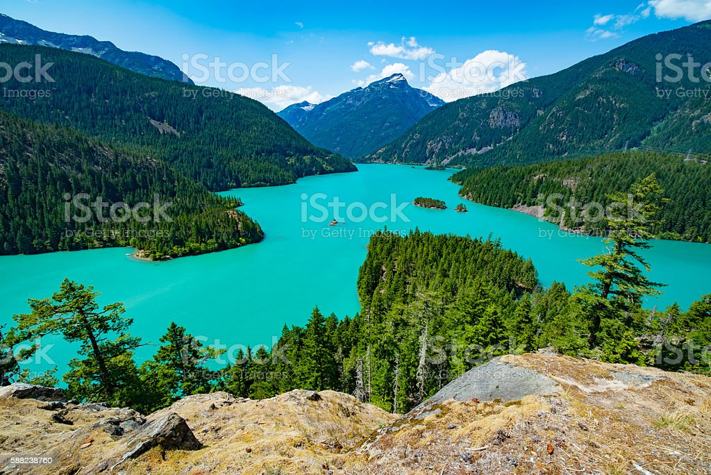 Lake Diablo in the North Cascades, Washington State stock photo