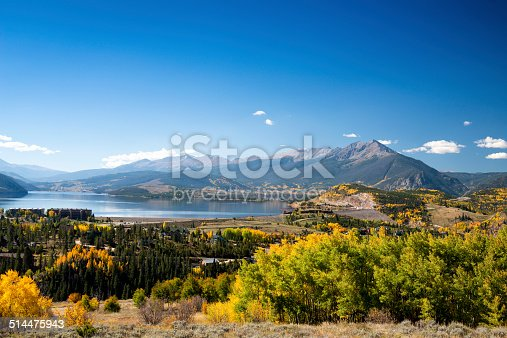 Lake Dillon, as seen from Ptarmigan Mountain in the fall.  Summit County, Colorado.  Ten Mile Range and Breckenridge ski area are in the background.