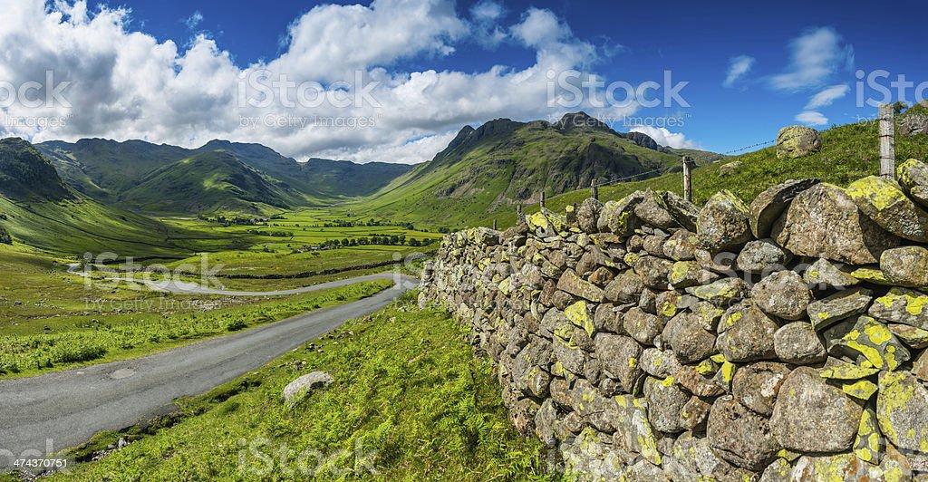 Lake Distict idyllic mountain landscape dry stone walls Cumbria UK stock photo