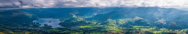 Lake District aerial mountain panorama over Derwent Water Western Fells stock photo