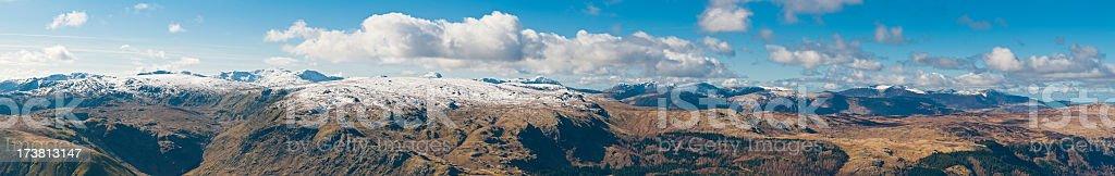 Lake District big sky peaks panorama stock photo