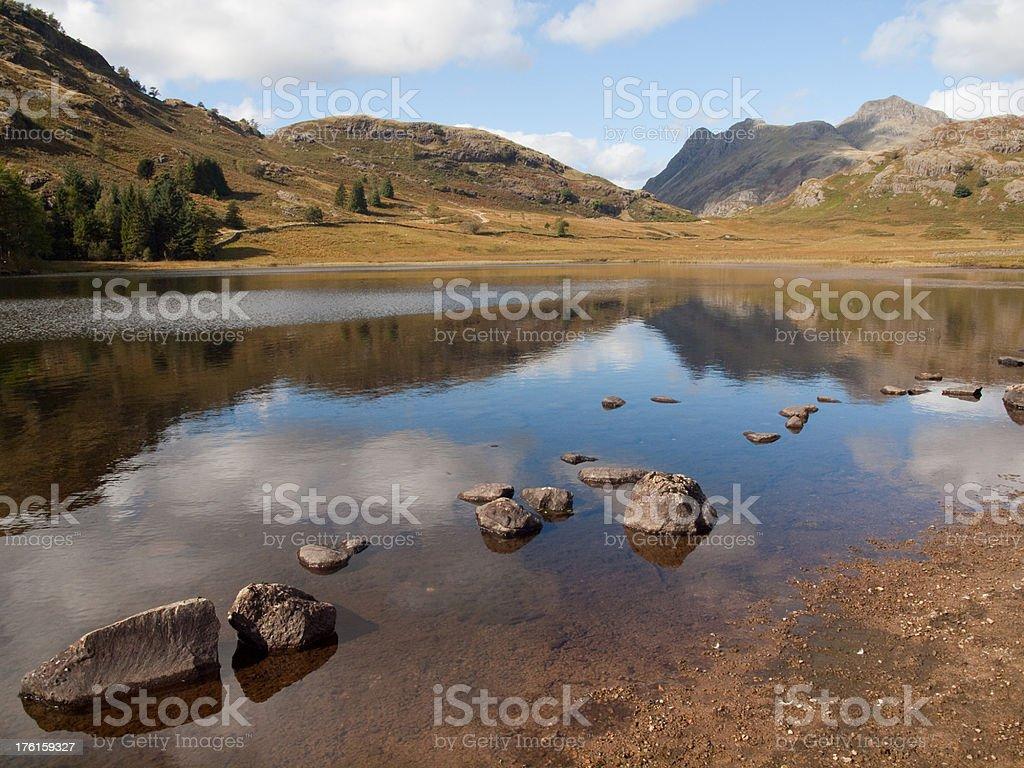 Lake District Blea Tarn and Langdale Pikes stock photo