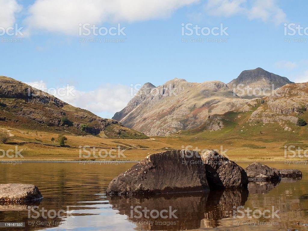 Lake District Blea Tarn rocks and Langdale Pikes stock photo