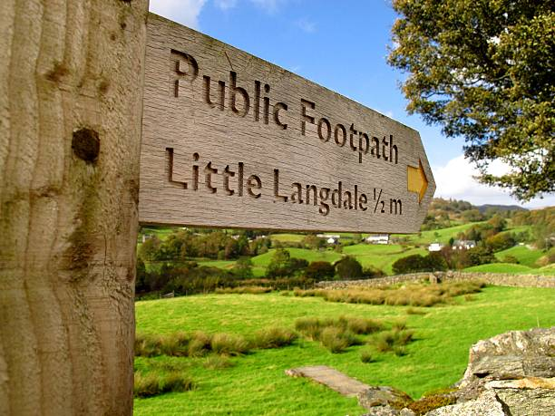 Lake District England public footpath hiking walking sign stock photo