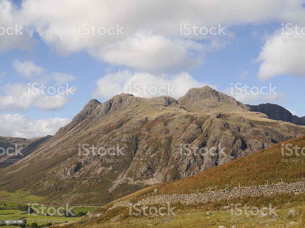 Lake District fells Langdale Pikes stock photo