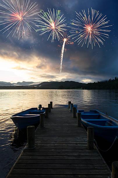 Lake District Fireworks stock photo